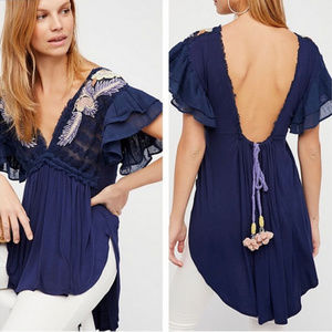 Free People NWT Fiesta Nueva Embroidered Open Back